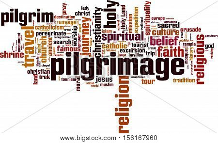 Pilgrimage word cloud concept. Vector illustration on white