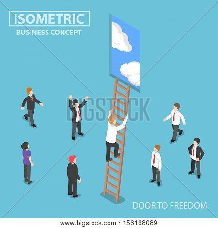 Isometric Businessman Climbing Ladder To The Door