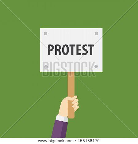 Hand Holding Protest Sign Flat Illustration. Protest or demonstration