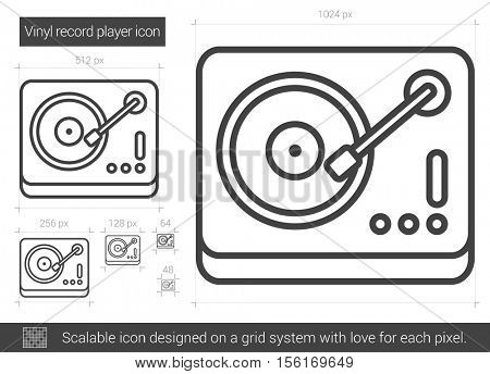 Vinyl record player vector line icon isolated on white background. Vinyl record player line icon for infographic, website or app. Scalable icon designed on a grid system.