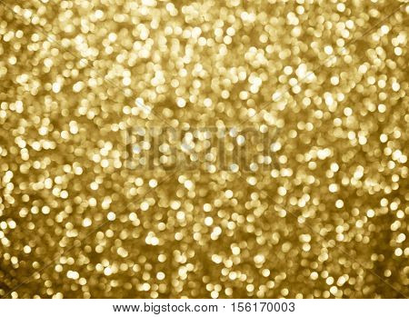 Gold Abstract Background Bokeh Circles For Christmas Background. Bokeh Light Background.