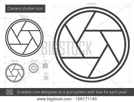 Camera shutter vector line icon isolated on white background. Camera shutter line icon for infographic, website or app. Scalable icon designed on a grid system.