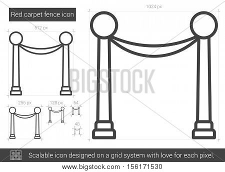 Red carpet fence vector line icon isolated on white background. Red carpet fence line icon for infographic, website or app. Scalable icon designed on a grid system.