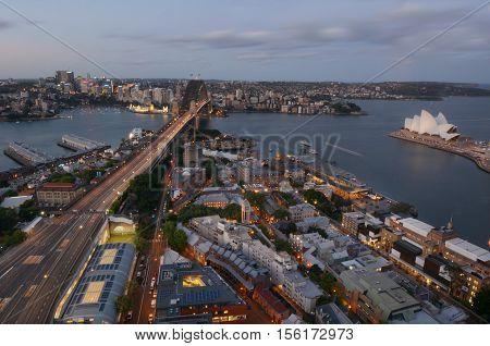 Aerial Urban Landscape View Of Sydney Harbour Sydney New South Wales Australia