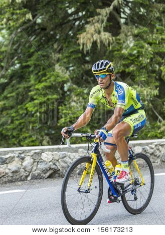 Col du Tourmalet France - July 24 2014: The Italian cyclist Daniele Bennati of Tinkoff-Saxo Team climbing the difficult road to Col du Tourmalet in Pyrenees Mountains during the stage 18 of Le Tour de France 2014.
