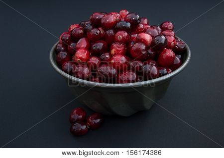 Close up of a fresh red and maroon cranberries heaped in a vintage tin ridged bowl or food mold with several berries outside the dish.  Photographed against a black background with shallow depth of field and fill flash.