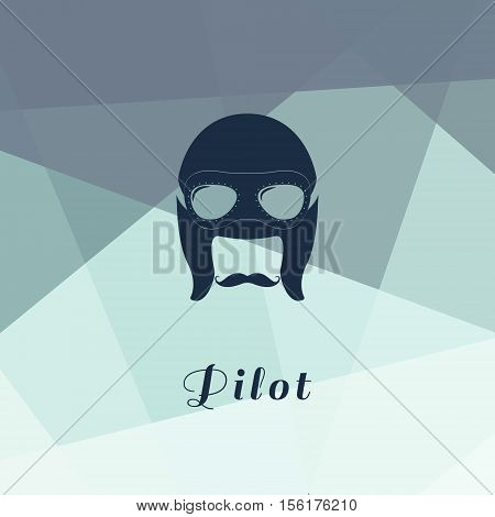 Vector illustration of retro male character. A head of pilot with mustache eyepieces and helmet.