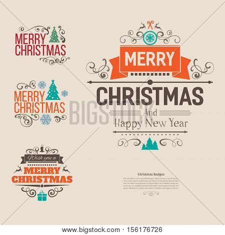 Set of colorful Merry Christmas vector retro vintage badges . Wishes of happy holidays with decoration elements for design projects