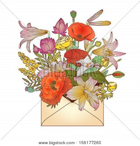 Envelope With Assorted Flowers