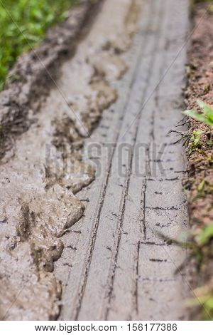 The Tire marks on the muddy ground