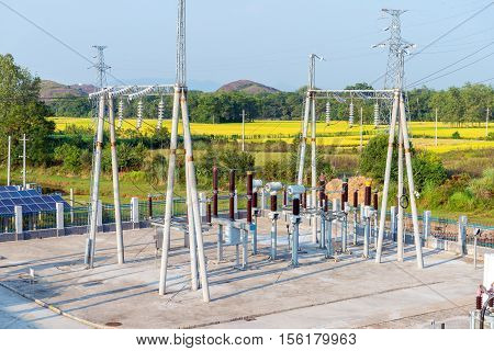 High voltage substation of photovoltaic power station in mountain.