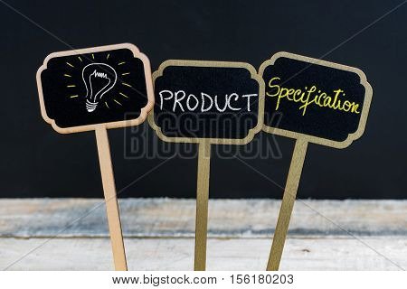 Concept Message Product Specification And Light Bulb As Symbol For Idea