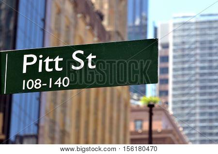 Street Sign Of Pitt Street In Sydney