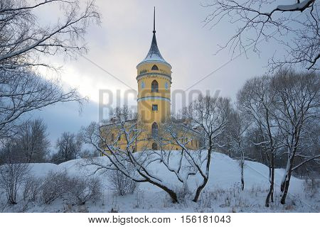 The old Castle Bip in a gloomy winter landscape. Saint-Petersburg Russia