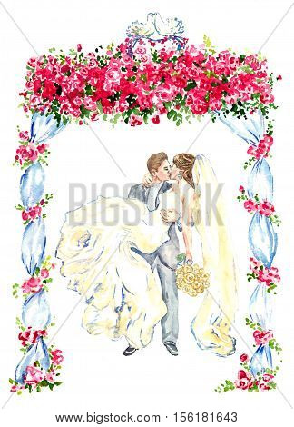 The groom holds his bride in his arms and kisses under gazebo decorated with red roses and two kissing pigeons on the top, hand painting watercolor illustration