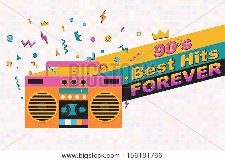 Best of 90s retro poster. Stereo cassette player