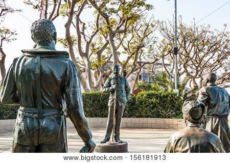 SAN DIEGO, CALIFORNIA - FEBRUARY 29, 2016: Bronze statues of Bob Hope and military personnel entitled,