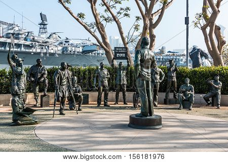SAN DIEGO, CALIFORNIA - FEBRUARY 29, 2016: Bronze statues of Bob Hope and US military personnel in