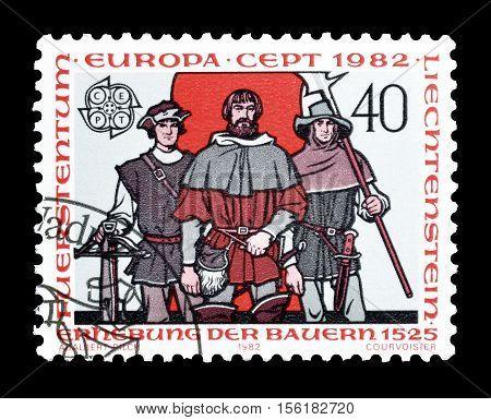 LIECHTENSTEIN - CIRCA 1982 : Cancelled postage stamp printed by Liechtenstein, that shows Europa CEPT stamp.