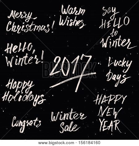 Happy New Year 2017 and Merry Christmas Holiday Printable Templates Set. Vector Hand Drawn Marker Lettering Isolated On White Background. Winter Sale, Wishes, Happy Holidays Inspirational Design.
