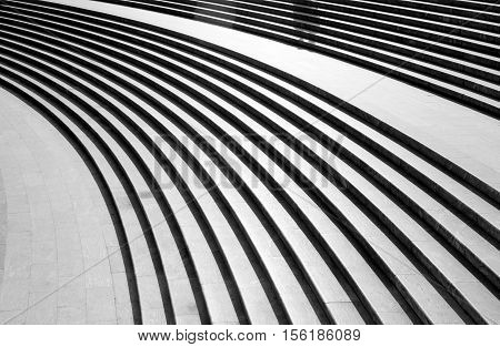 Architectural design of stairs.Black and white tone map.