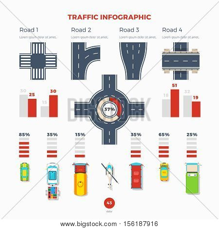Traffic infographic with information about roads and junctions types and different vehicles statistics flat vector illustration