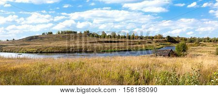 River Msta, panorama bright sunny day in autumn.
