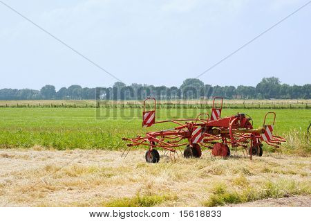 Agriculture in landscape with hay
