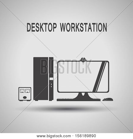 Desktop workstation with uninterruptible power supply webcam keyboard gray silhouette vector icon with shadow on the gradient gray background.