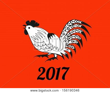 White rooster on red background. Symbol 2017. Christmas vector in a folk style. Suitable for greeting cards, invitations, design elements for Christmassy decoration. Horizontal.