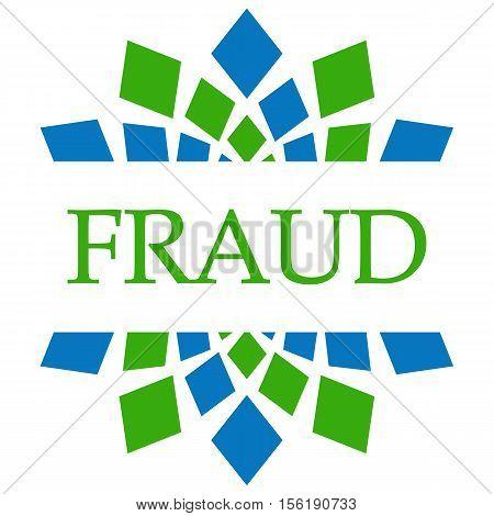 Fraud text written over green blue circular background.