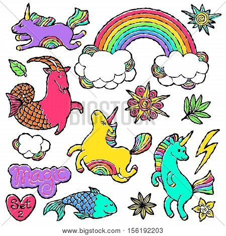 Fashion patch badge elements in cartoon 80s-90s comic style. Set modern trend doodle pop art sketch with rainbow unicorns. Vector clip art illustration isolated.
