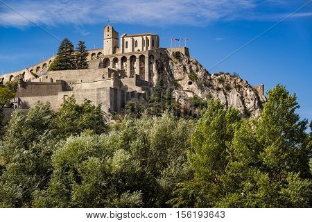 Citadel of Sisteron and its fortifications in summer time. Durance Valley, Alpes de Haute Provence, Southern Alps, France