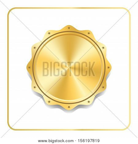 Seal award gold icon. Blank medal with stars isolated on white background. Stamp for design. Golden emblem. Symbol of assurance winner guarantee best label premium quality. Vector illustration