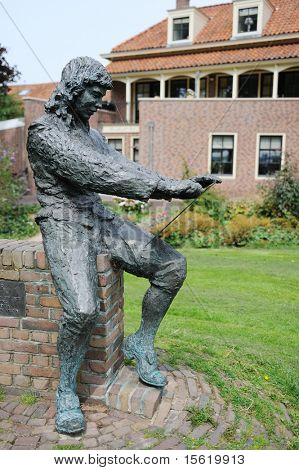 Statue of the famous painter Paulus Potter in Enkhuizen Holland