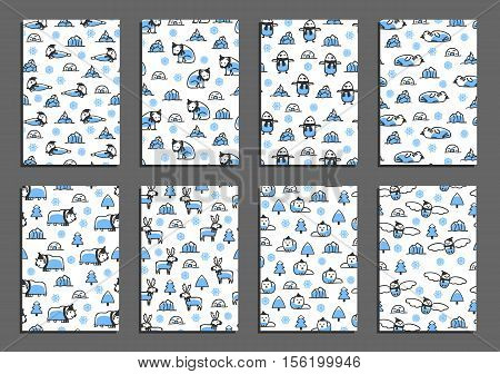 Set of vector greeting card templates with arctic animals. Childish illustrations of polar bear, reindeer, arctic fox, walrus, seal, owl, penguin and musk-ox. Animals wear scarves and hats