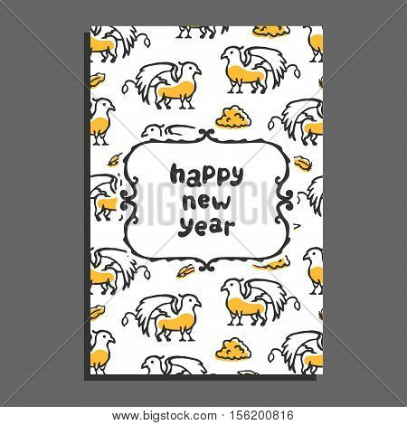 Happy new year greeting card with griffin and clouds. Cute cartoon vector childish pattern on white background