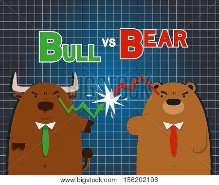 cute big bull bear cartoon versus in stock market on dark blue table background