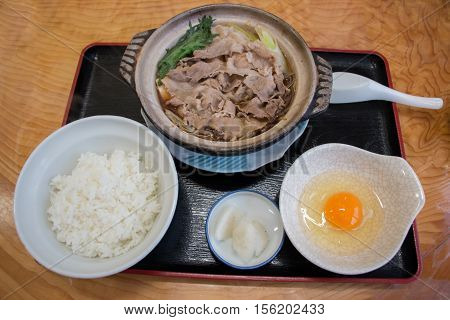 Kritanpo Nabe Set With Pork Hotpot, Rice, And Egg.