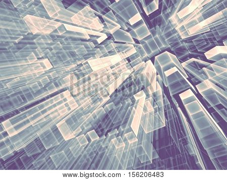 Geometric technology background - abstract computer-generated image. Fractal geometry: tending to the horizont parallelepipeds. Tech or virtual reality concept.