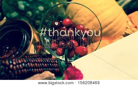 Thanksgiving Thank You Card With blank copy space and hashtag In vintage colors