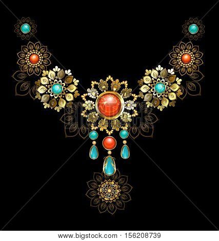 Jewelry gold jewelry made in oriental style decorated with turquoise and red jasper on a dark background.