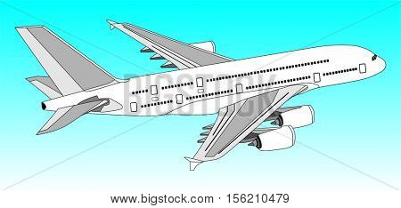 Commercial Jet Aeroplane Flying in clear blue Sky travel and tourism concept passenger plane with out line of all parts cockpit body wings tail aircraft on the air useful for business