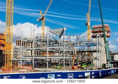 Cardiff United Kingdom Wales - November 10 2016: Progress is being made by the construction workers on the development site of the old bus station in Cardiff City Wales United Kingdom.