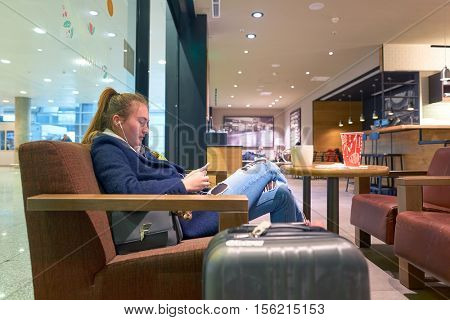 SAINT PETERSBURG, RUSSIA - 10 NOVEMBER, 2016: inside of Starbucks at Pulkovo Airport. Starbucks Corporation is an American coffee company and coffeehouse chain.