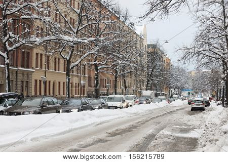 STOCKHOLM SWEDEN - NOV 10 2016: Snow chaos in the traffic in central Stockholm. November 10 2016 in Stockholm Sweden