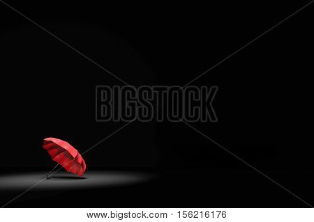 3D Rendering : Illustartion Of Spotlight Shining To Red Umbrella In Very Dark Room. Business, Leader