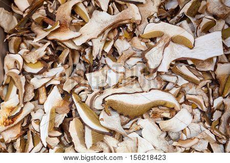 Dried boletus mushrooms on a stall at farmers market