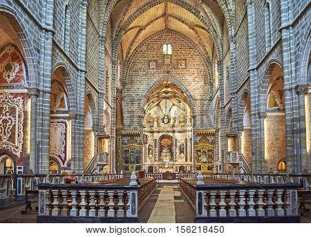Evora Portugal - November 29 2016. Nave of Igreja de Sao Francisco church. Evora Portugal.