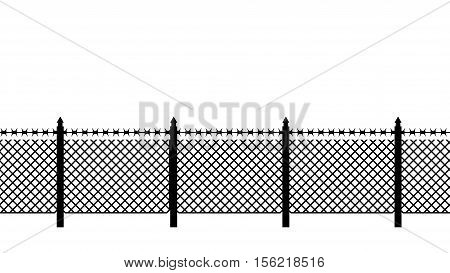 Boundary Fence With Barbed Wire. Border Protection. Protections